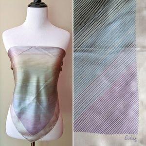 Vintage silk Echo subtle rainbow silvery scarf